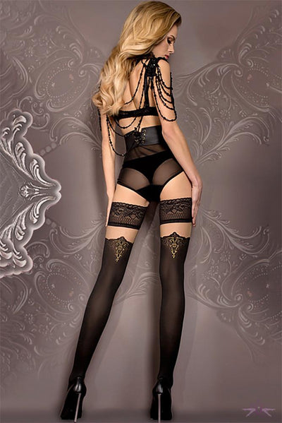 Ballerina Black and Gold Opaque Hold Ups - The Hosiery Box
