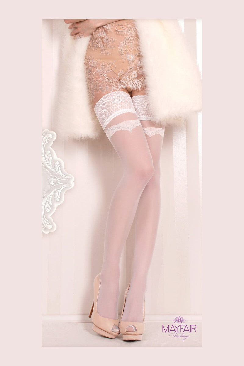 Ballerina Bridal Bow Hold Ups - The Hosiery Box