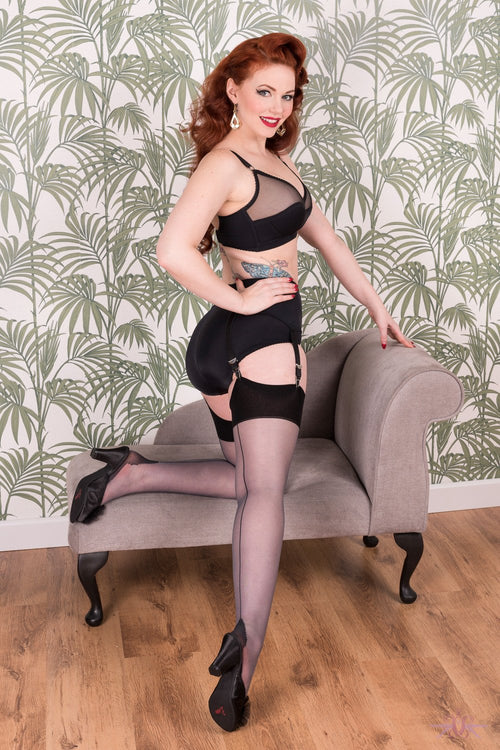 What Katie Did Contrast Grey/Black Seamed Stockings - Mayfair Stockings