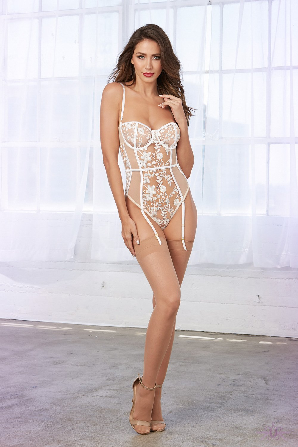 Sheer Lace Body with Suspenders