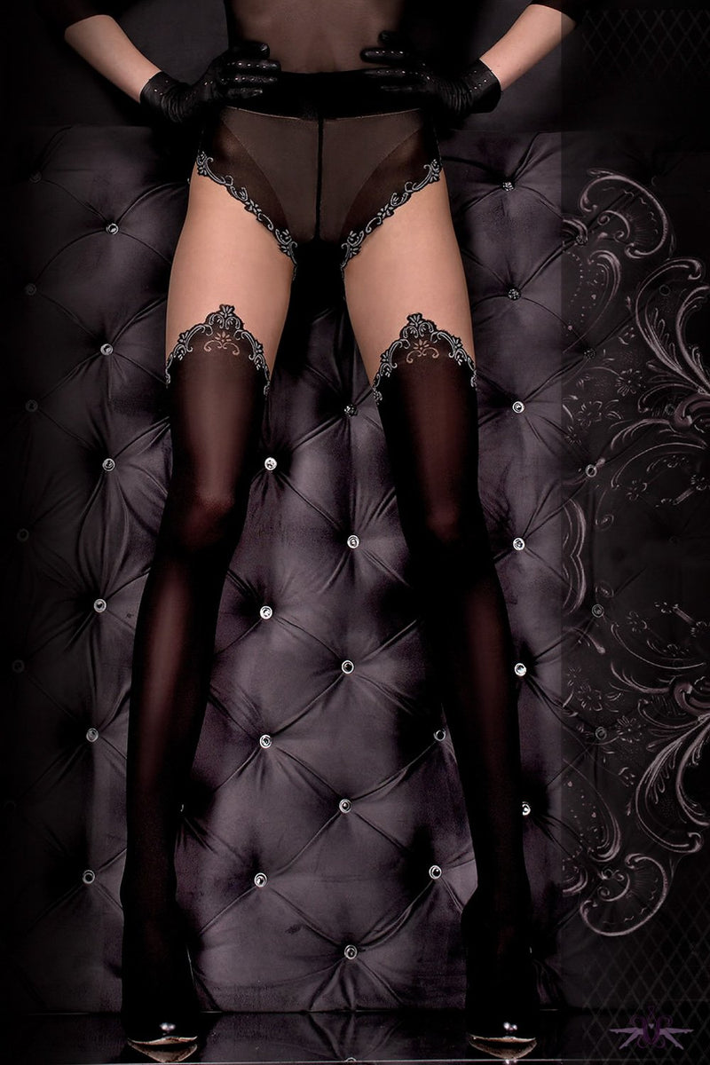 Ballerina Black Opaque and Grey Seam Tights - The Hosiery Box
