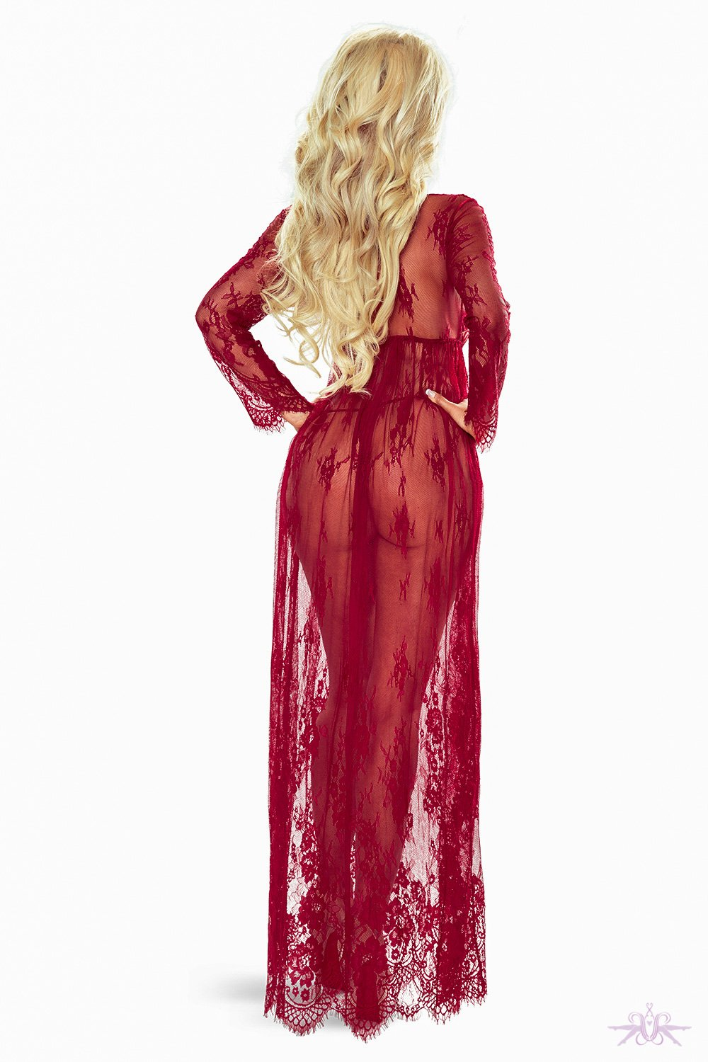 Provocative Red Long Lace Gown