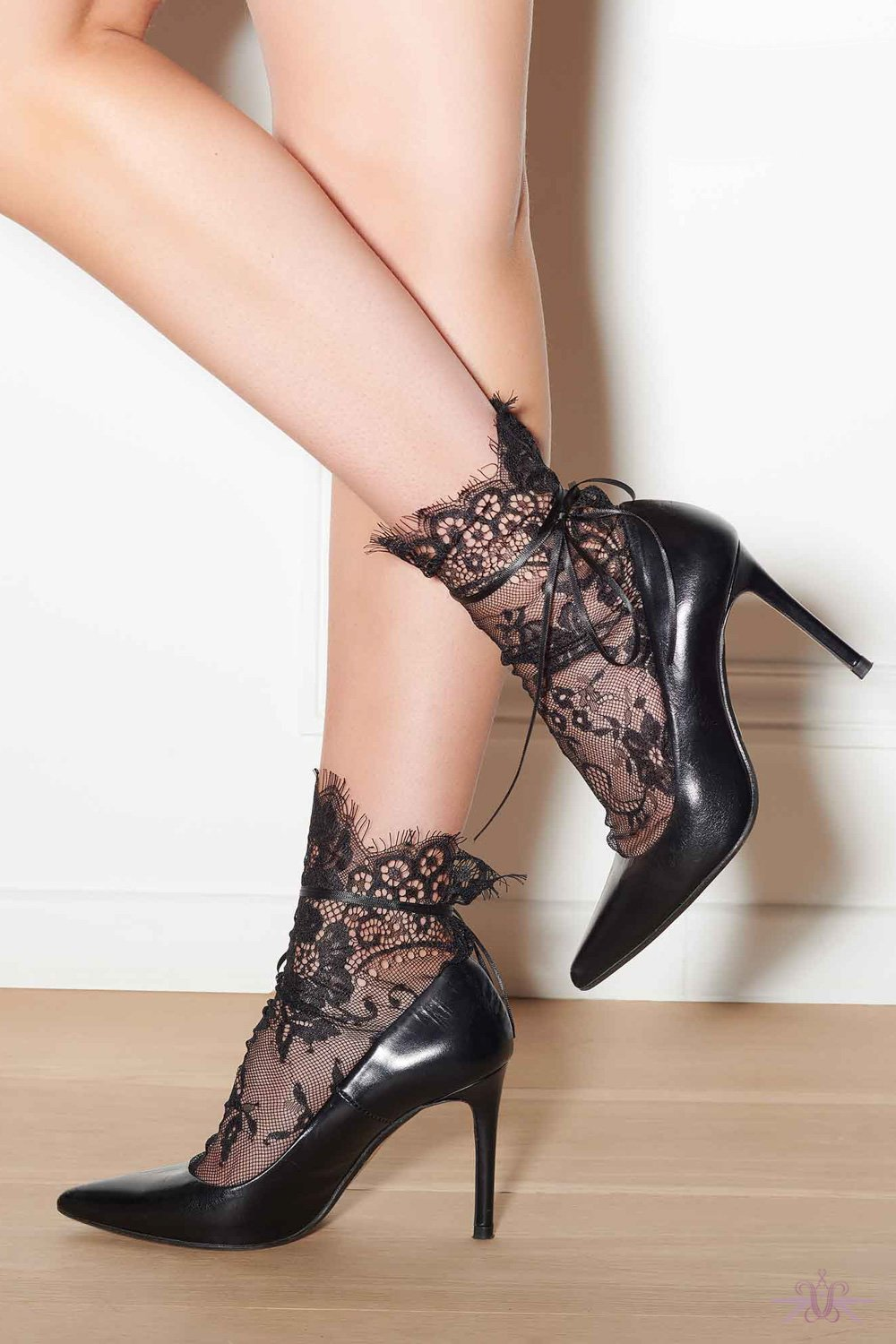 Maison Close Black Lace Socks