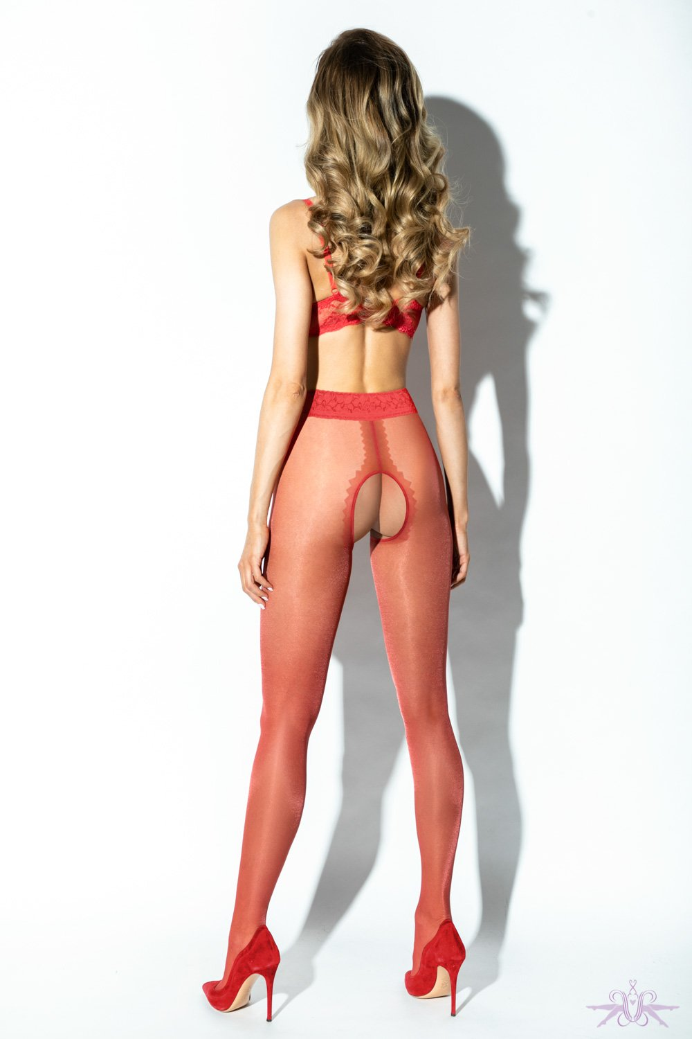 Amour Red Lace Crotchless Tights