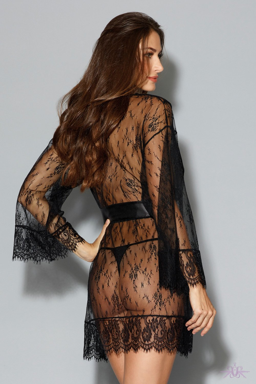 Black Long Sleeved Lace Gown