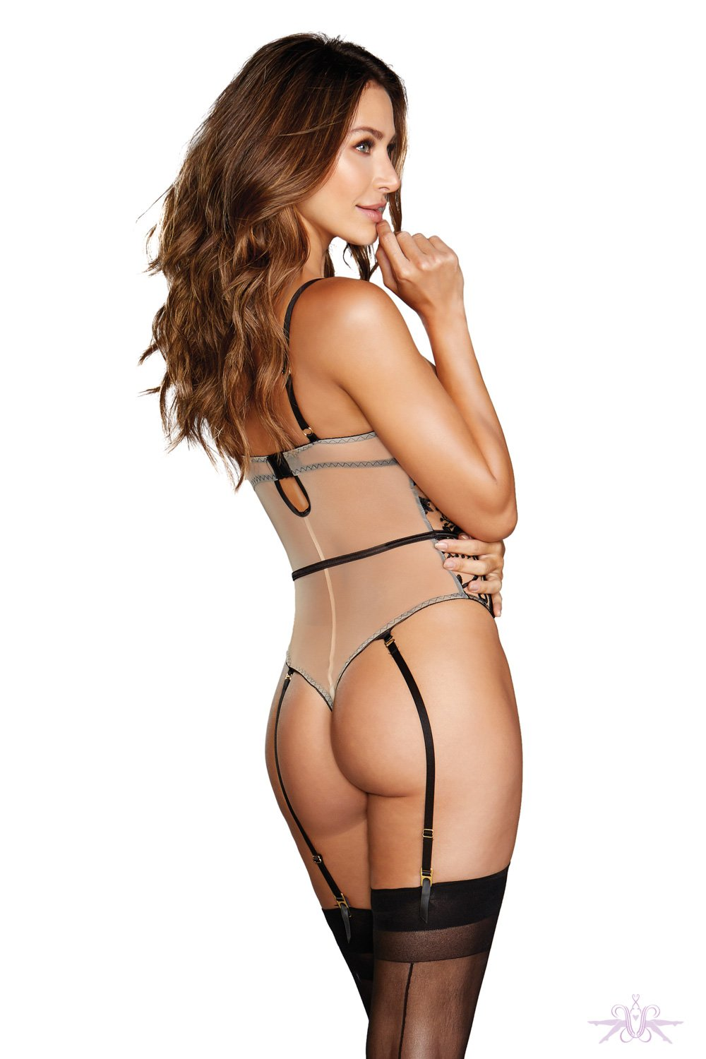 Sheer Black/Nude Lace Body with Suspenders