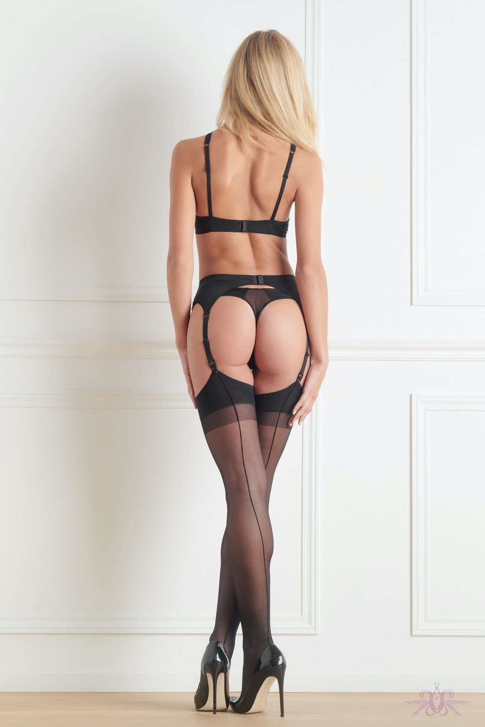 Maison Close Black Stockings with Black Seam