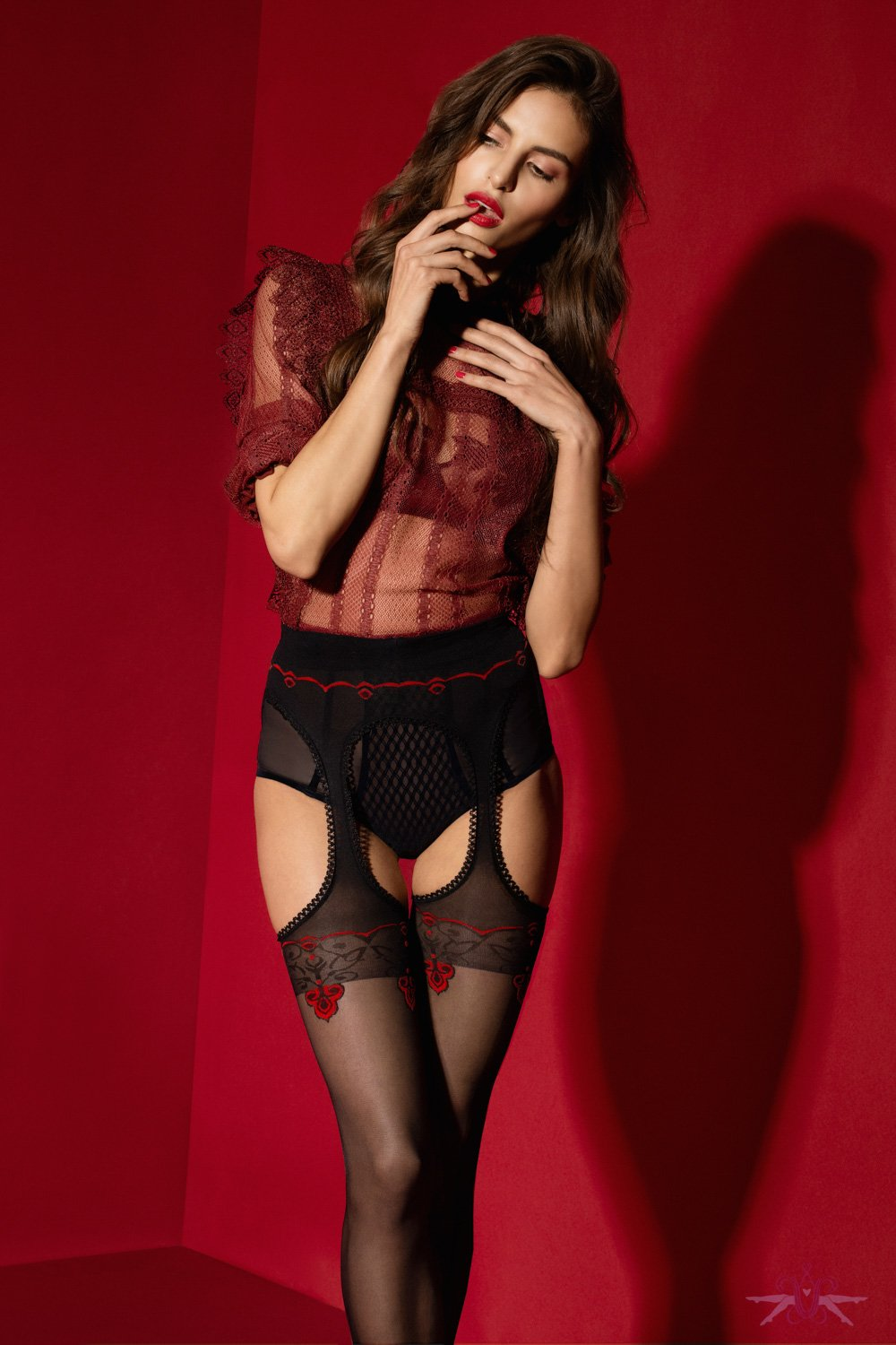 Fiore Amore Rouge 20 Denier Suspender Tights