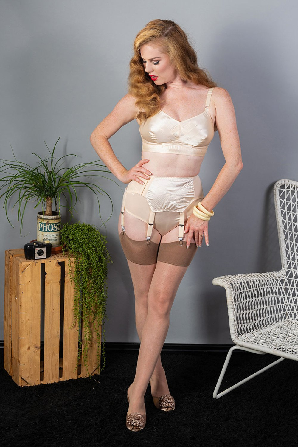 What Katie Did Contrast Nude/Latte Seamed Stockings