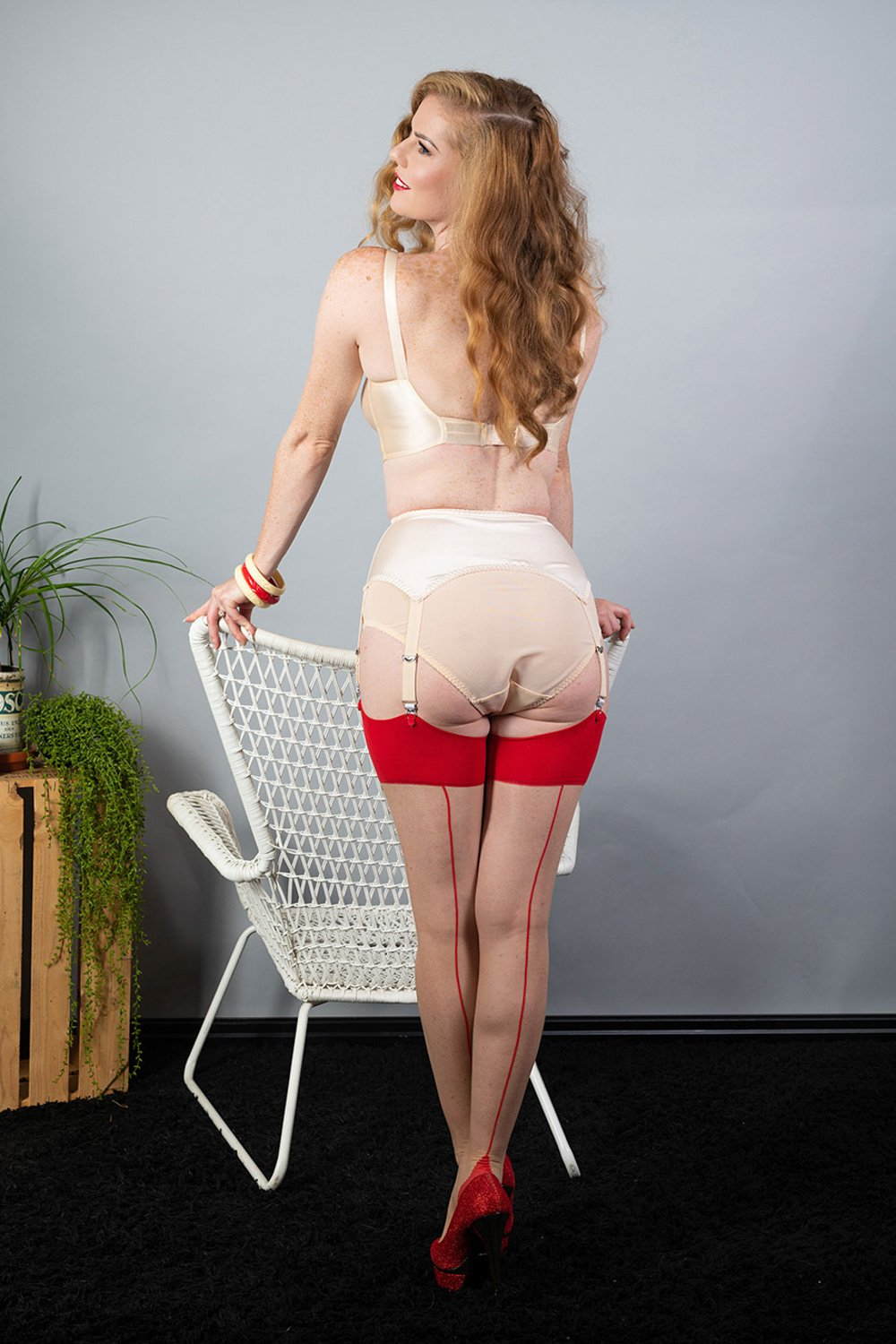 What Katie Did Contrast Nude/Red Seamed Stockings