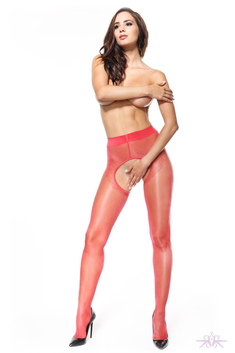 MissO 20 Shiny Open Crotch Red/Black Seamed Tights
