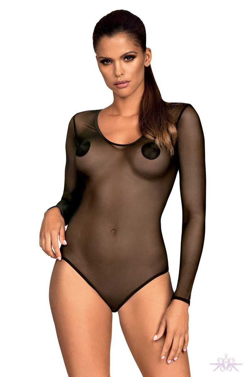 Obsessive Sheer Black Long Sleeved Bodysuit