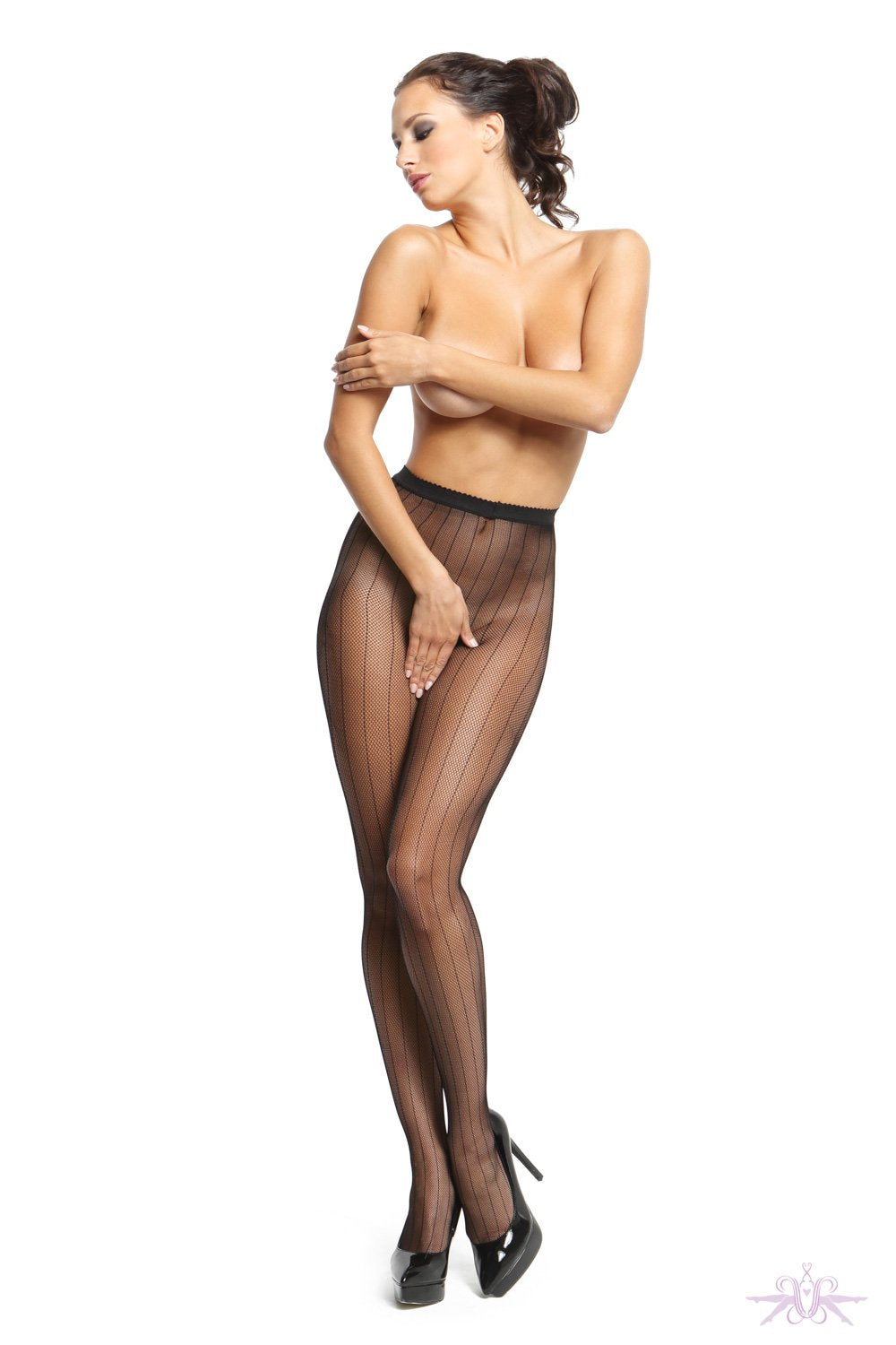 MissO 20 Open Crotch Black Fine Fishnet Seam Tights