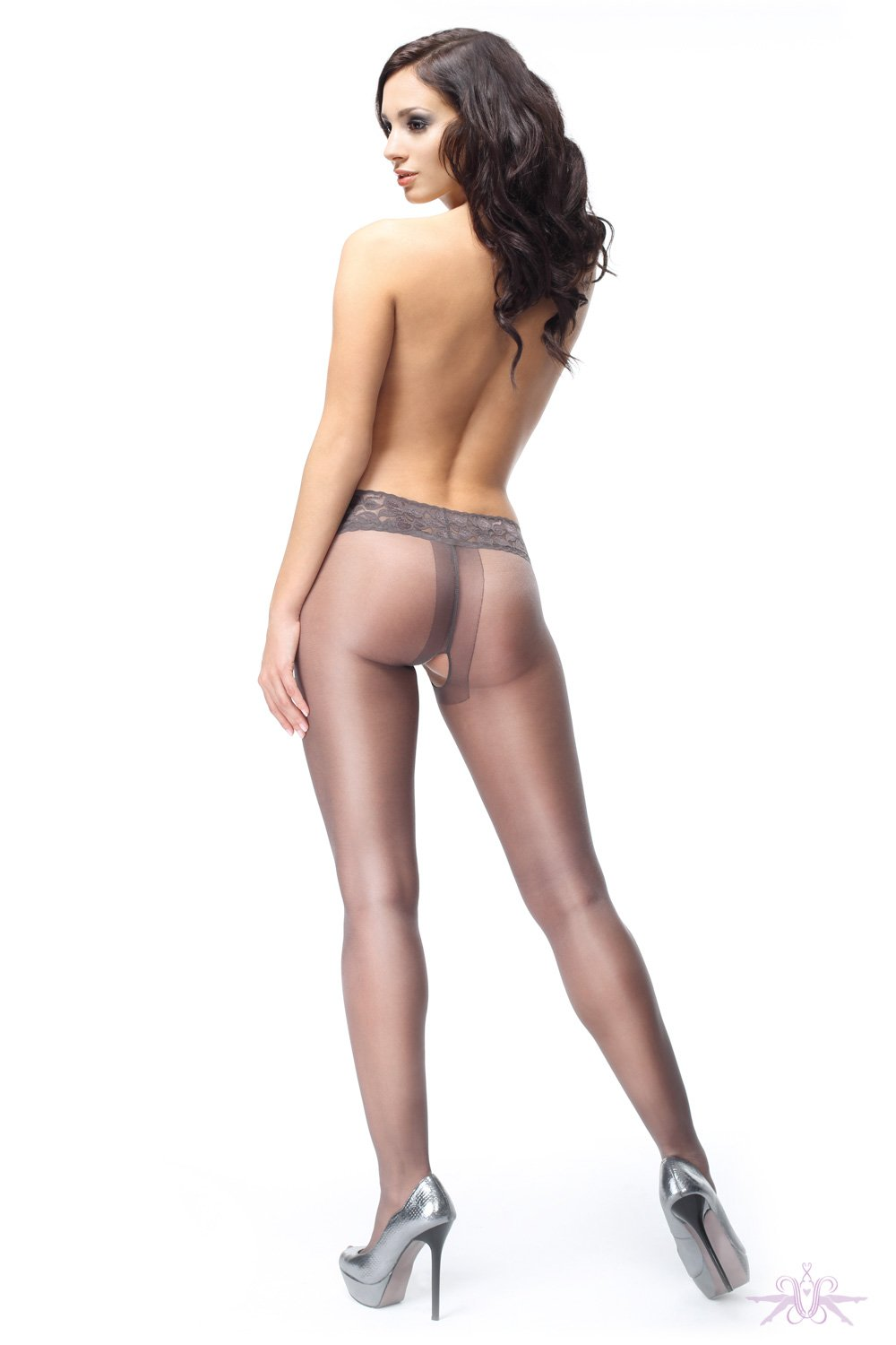 MissO 20 Denier Shiny Open Crotch Lace Dark Grey Tights
