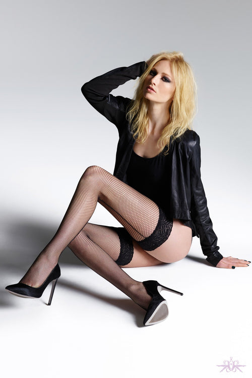 Jonathan Aston Fishnet Backseam Hold Ups - The Hosiery Box