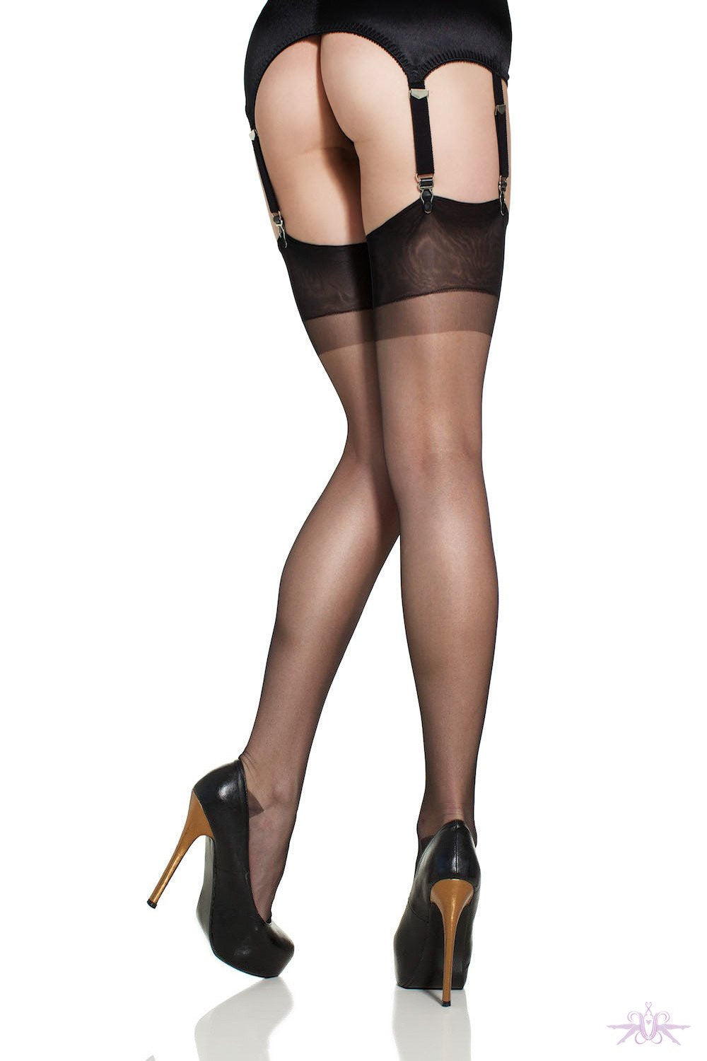 Gio Reinforced Heel and Toe Nylon Stockings - The Hosiery Box