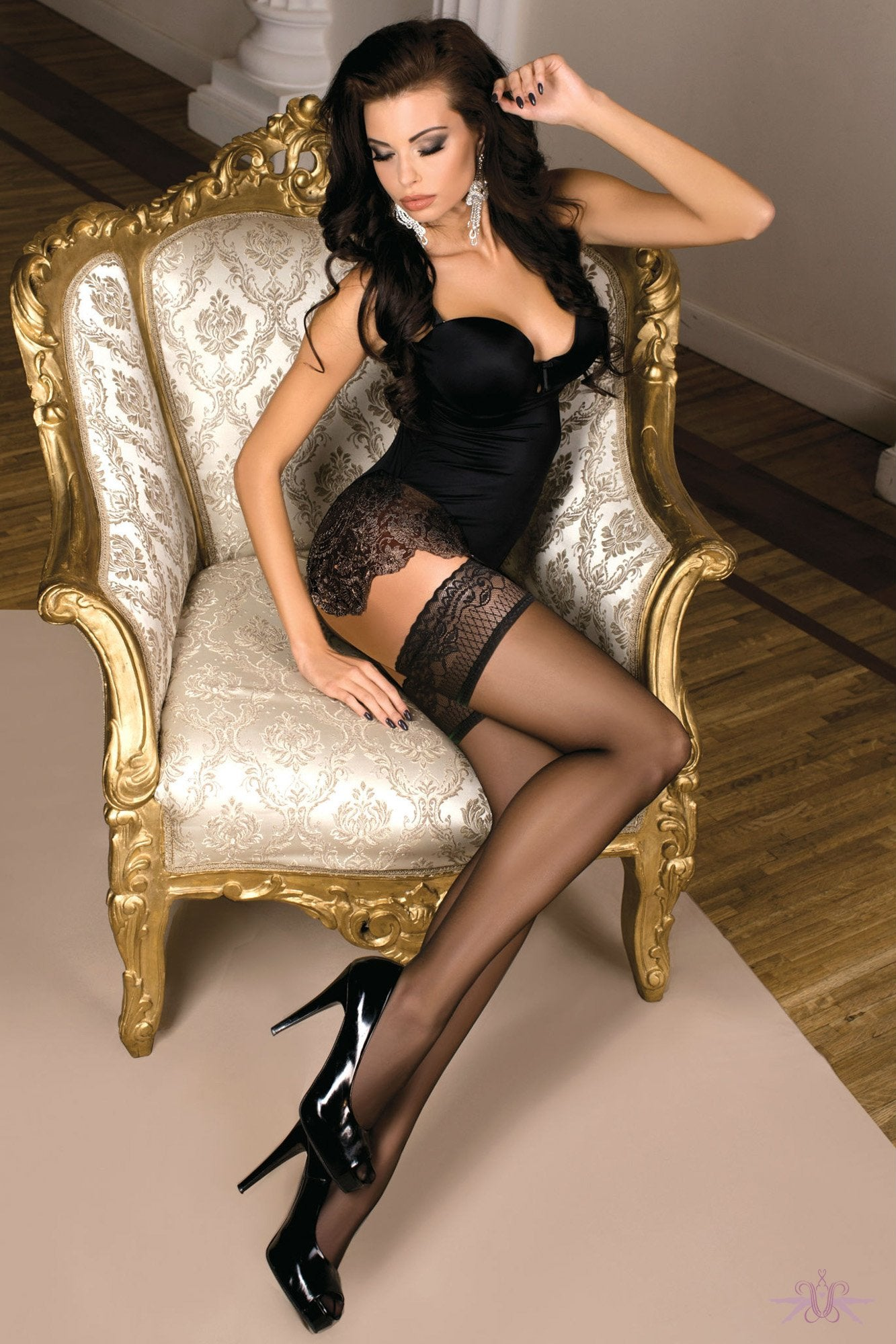 Ballerina Sheer Black Hold Ups - The Hosiery Box