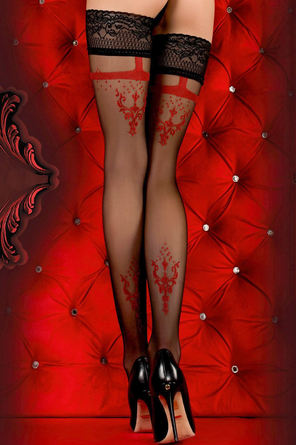 Ballerina Faux Suspender Floral Black/Red Hold Ups - The Hosiery Box