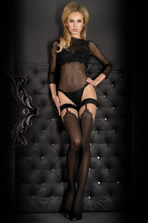 Ballerina Faux Suspender Opaque Black/Grey Hold Ups - The Hosiery Box