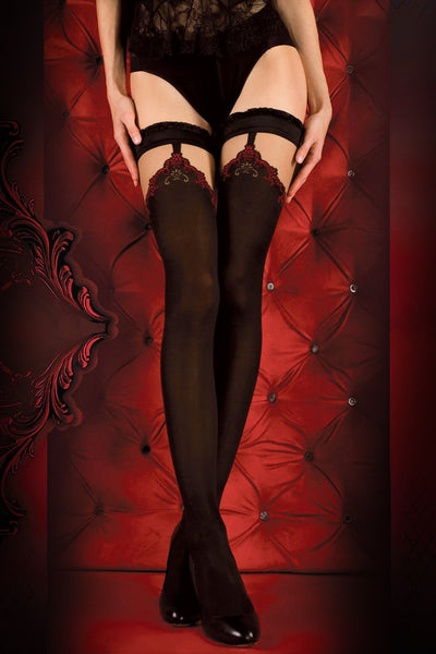 Ballerina Faux Suspender Opaque Black/Red Hold Ups - The Hosiery Box