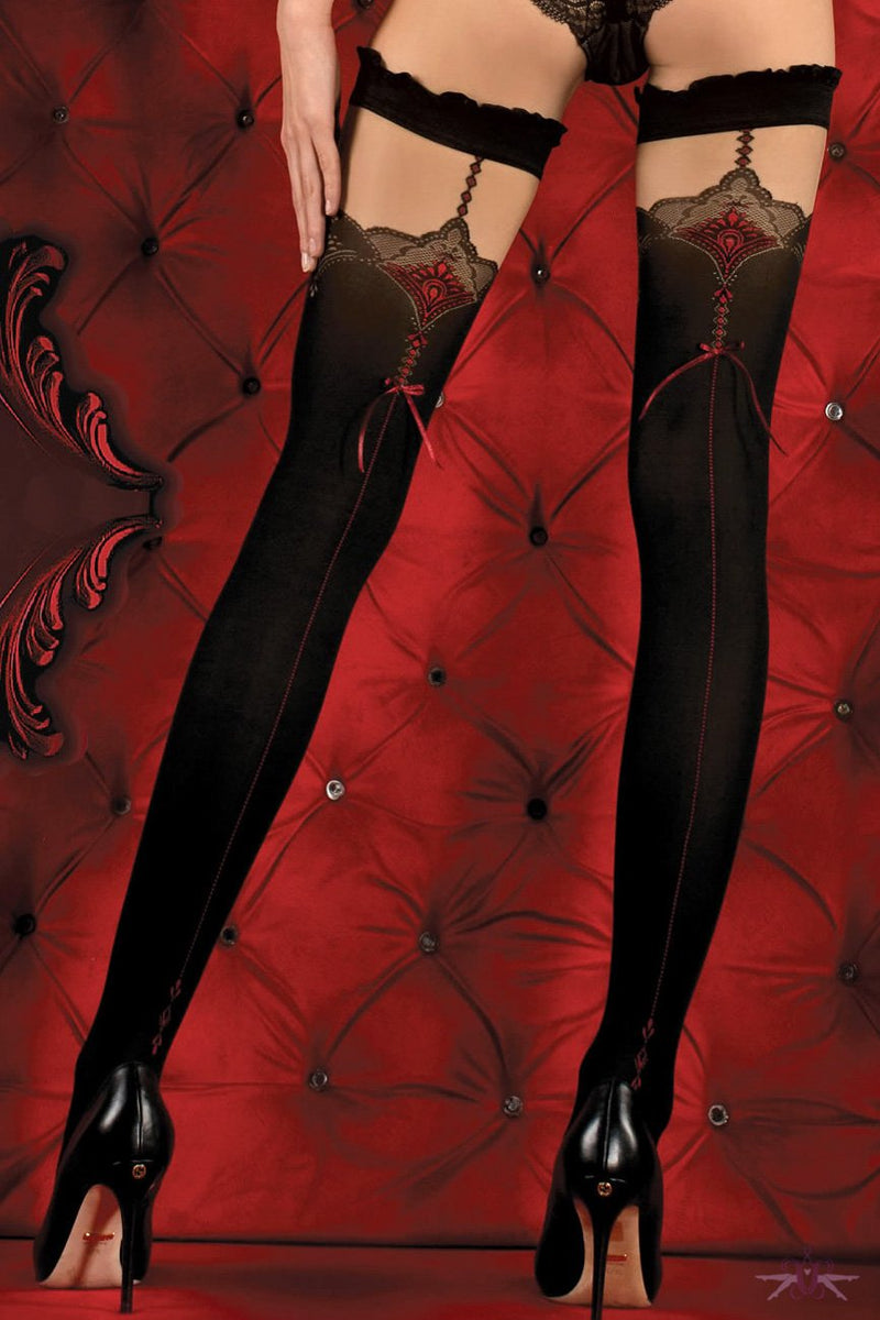 Ballerina Red Seamed Black Opaque Hold Ups - The Hosiery Box