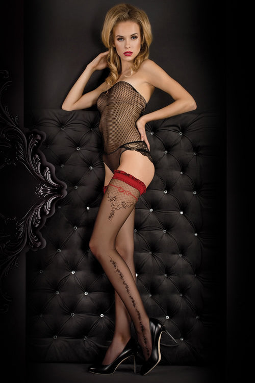 Ballerina Black/Red Floral Hold Ups - The Hosiery Box