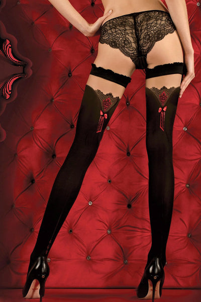 Ballerina Red Bow Opaque Black Hold Ups - The Hosiery Box