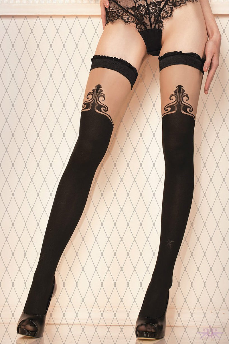 Ballerina Opaque Fleur De Lys Hold Ups - The Hosiery Box