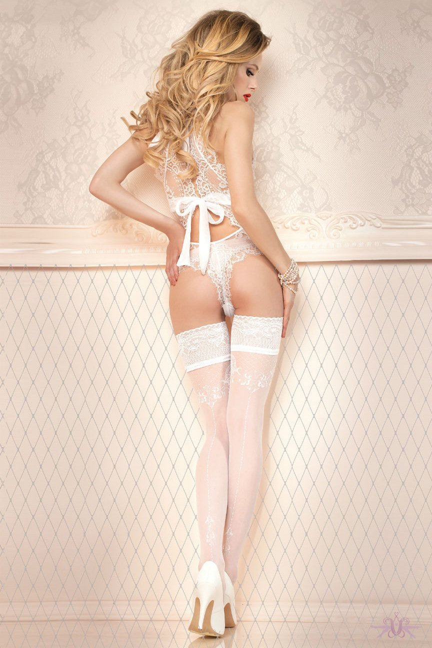 Ballerina Floral Bridal Seamed Hold Ups - The Hosiery Box