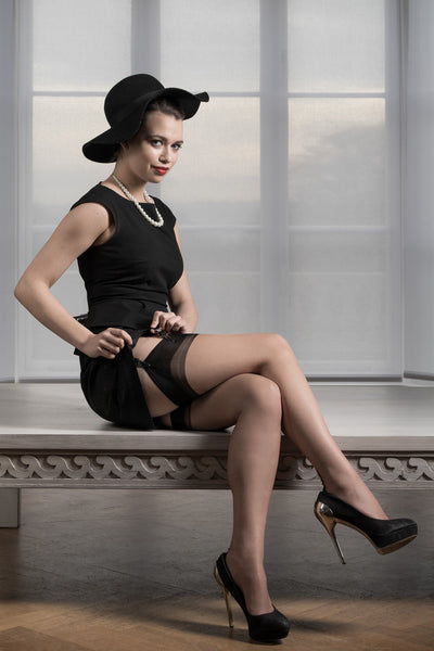 Gio Cuban Heel Fully Fashioned Stockings - Full Contrast - The Hosiery Box