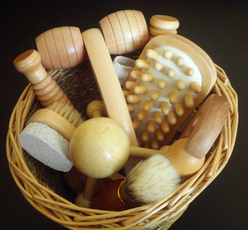 collection of wood massage tools