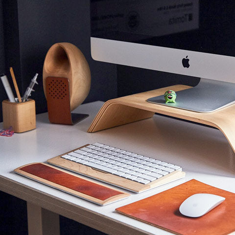 desk with wood accessories