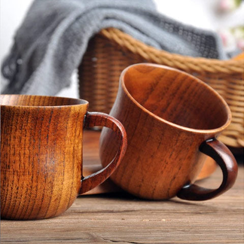 wooden mugs on table