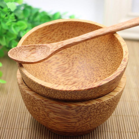 Coconut Wood Bowl Set (Inc Spoon & Chopsticks)