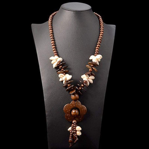 Coconut Wood Flower Necklace
