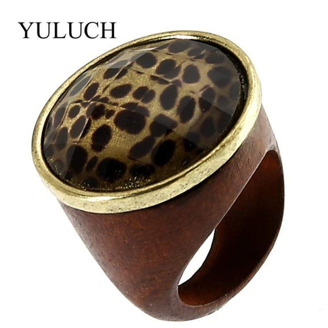 Leopard Wooden Ring