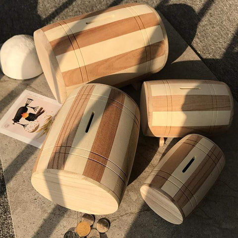 Wood Drum Piggy Bank