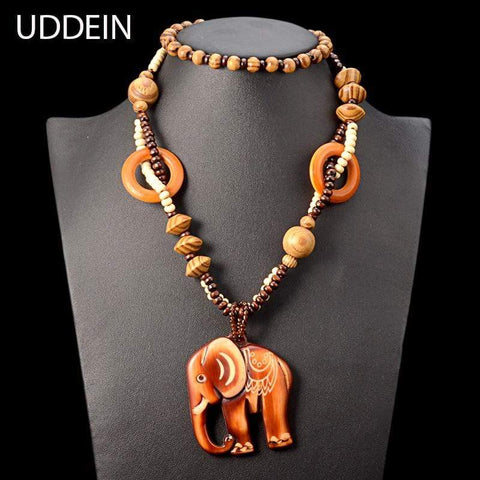 Wood Elephant Necklace