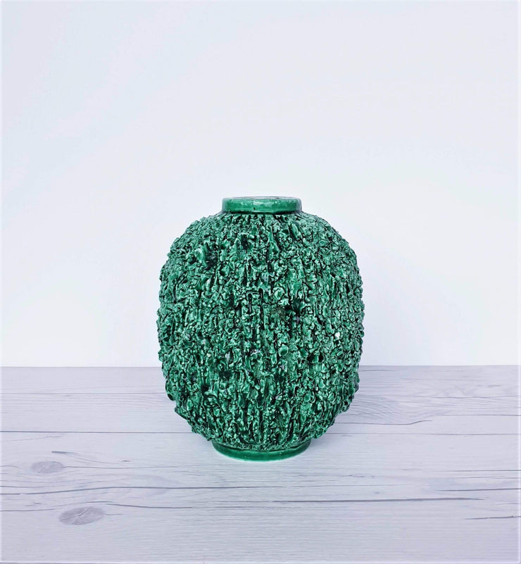 AnyesAttic Ceramic 1943 - 50 Swedish Rorstrand, Gunnar Nylund 'Hedgehog' Emerald Green Chamotte Sculpted Stoneware Vase