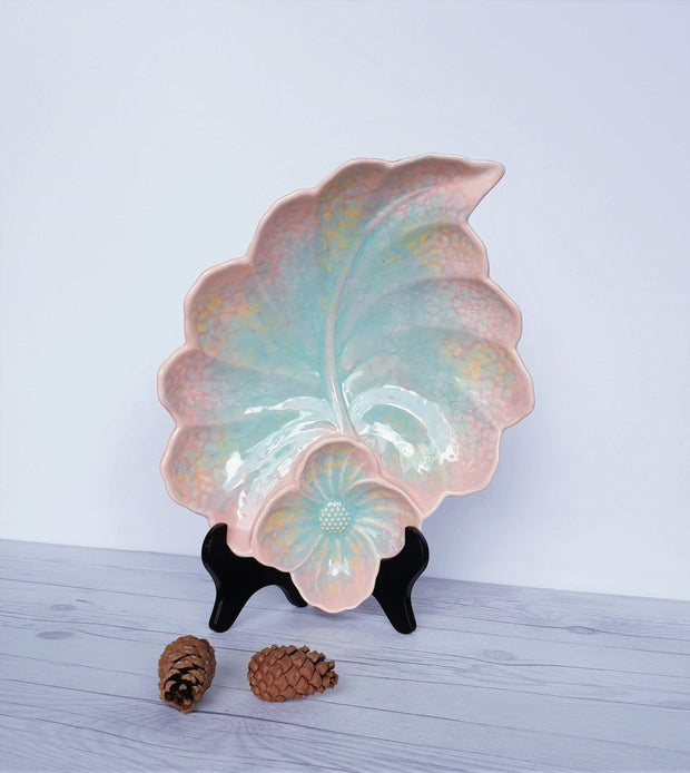 AnyesAttic Ceramic 1950s-60s Beswick Pottery, Flower on Leaf Pastel Glaze Ceramic Dish | British | Rare Shape