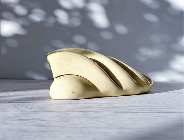 AnyesAttic Ceramic 1950s - 60s Mid Century Sadler att. Gloss Pale Lemon and 22 ct. Gold Decor, Shell Wall Pocket Vase