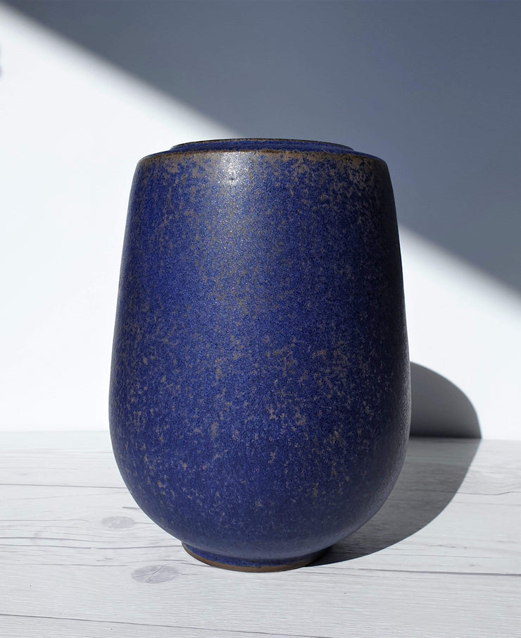 AnyesAttic Ceramic 1950s-60s Sibylle Karrenberg-Dresler Studio Ceramic, Modernist Atomic Vase in Deep Indigo and Taupe