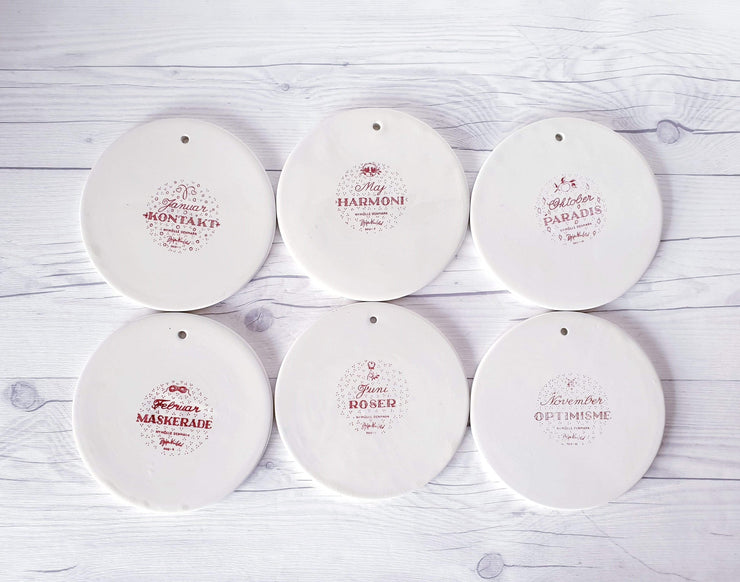 AnyesAttic Ceramic 1960s -70s Bjorn Wiinblad for Nymolle, Set of 6 Calendar Series Illustrated Wall Plates | Danish