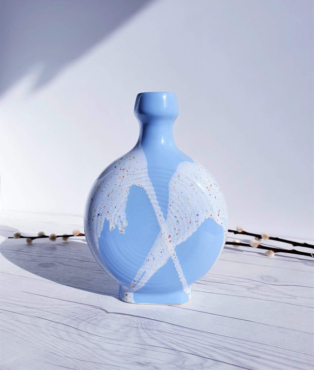 AnyesAttic Ceramic 1960s-70s West German, 'Blue Skies and Tutti Frutti Ice Cream' Palette, Op Art Bottle Vase