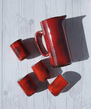 AnyesAttic Ceramic 1960s Fritz Van Daalen Rare Red Glaze Ceramic Pitcher Jug and 4 Tumbler Set, Labelled and Stamped
