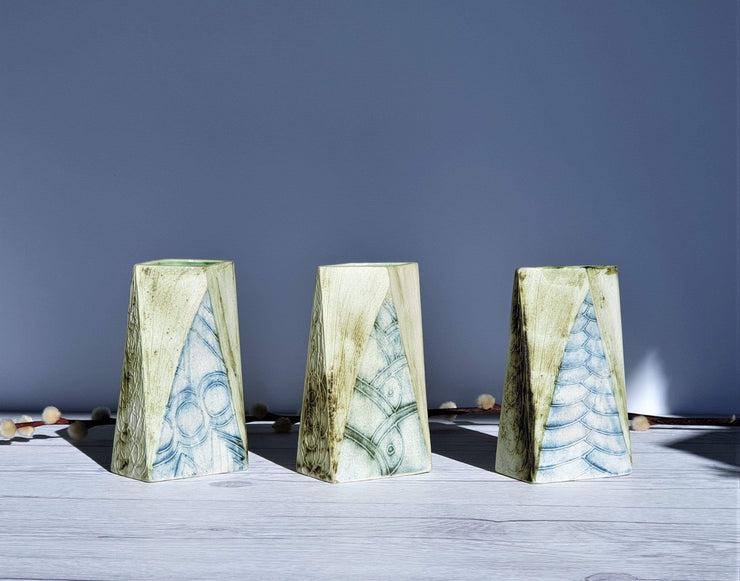 AnyesAttic Ceramic 1970s Carn Pottery by John Beusmans Set of 3 Textured Cream, Green and Blue Faceted Ceramic Vases