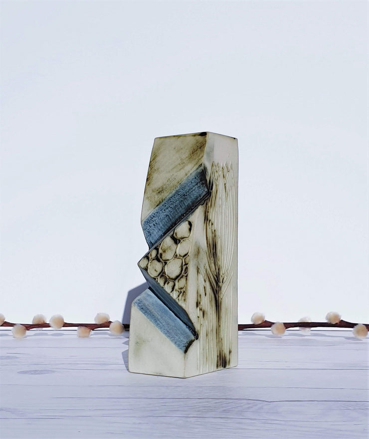 AnyesAttic Ceramic 1970s Carn Pottery by John Beusmans, W Series, Textured Cream and Blue Angular Cut Ceramic Vase