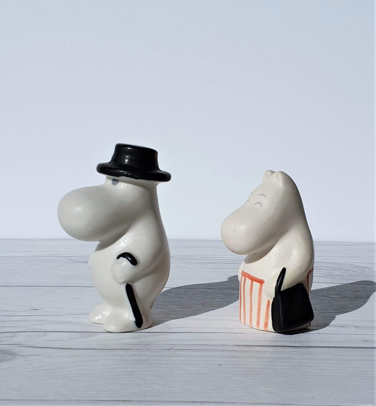 AnyesAttic Ceramic 1990s Moominmamma and Moominpapa figurines by Tuulikki Pietilä for Arabia of Finland