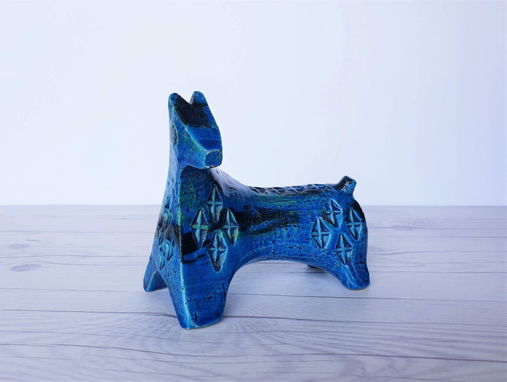 AnyesAttic Ceramic Bitossi, Rimini Blu Series by Aldo Londi, Modernist Horse Sculpture in Persiano Blue Glaze