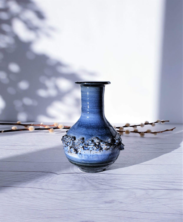 AnyesAttic Ceramic Duo of Glit Pottery, REAL Lava in Rare 'Snow Tundra' Blue Glaze Dish and Vase | Iceland, 1960-70s